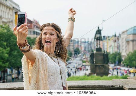 Joyful Bohemian Woman Making Selfie On Wenceslas Square, Prague