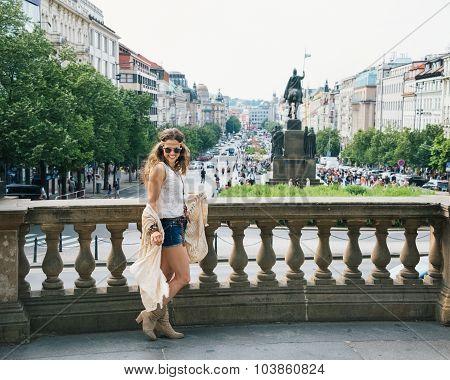 Trendy Hippie Woman Tourist Walking On Wenceslas Square, Prague