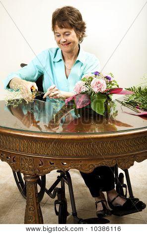 Florista com deficiência apara Babys Breath