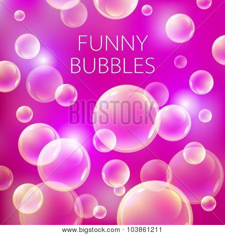 Abstract Soap Bubbles Vector Background. Transparent Circle, Sphere Ball, Pink Red Pattern Illustrat