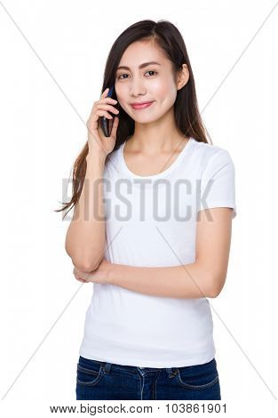 Asian young woman talk to cellphone