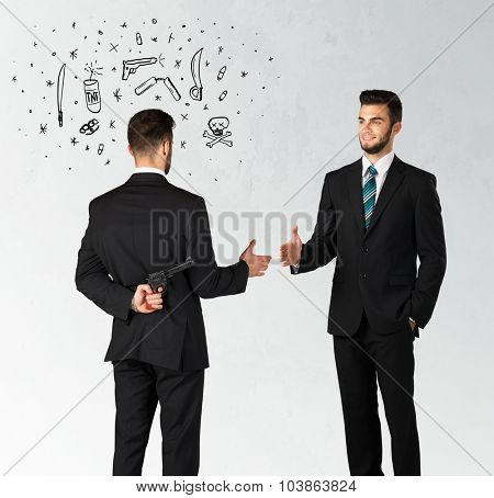 Ruthless businessman handshake with hiding a weapon and weapon symbols around his head