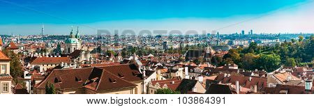 Panorama of cityscape in Prague, Czech Republic.