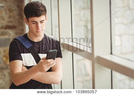 Male student using mobile phone while leaning on window in college