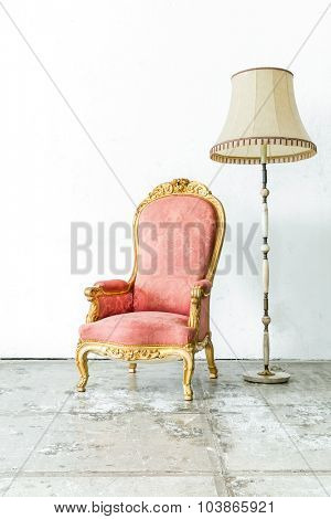 Pink Vintage retro style Chair with lamp