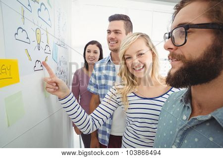 Portrait of smiling woman pointing at wall with sticky notes and drawings while standing in creative office