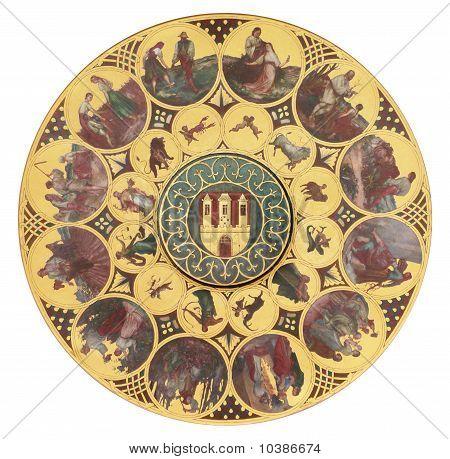 Calendário do zodíaco de recorte do relógio astronômico de Praga