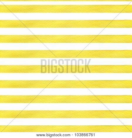 Colorful hand drawn real watercolor seamless pattern with yellow horizontal strips.