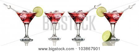 Cosmopolitan cocktail set isolated on white