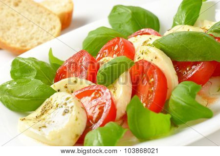 close up of fresh caprese salad with bread