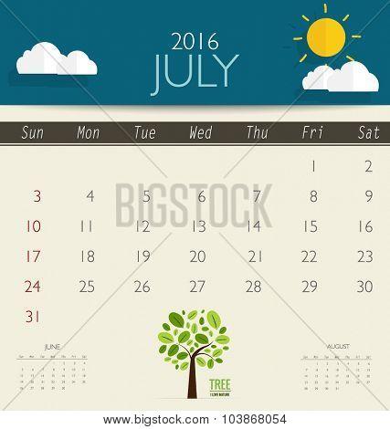 2016 calendar, monthly calendar template for July. Vector illustration.