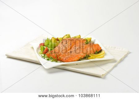 pan fried salmon fillets served with vegetable garnish on white plate and place mat