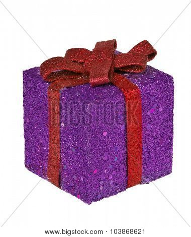 lilac box with red ribbon isolated on white background