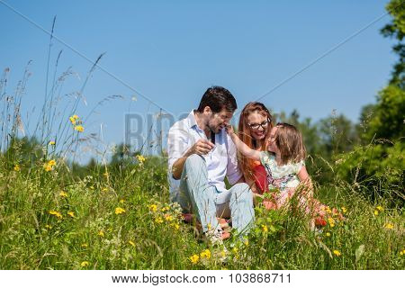 Family cuddling sitting at meadow on a summer day with blue sky