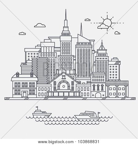 Business center of big city street skyscrapers megapolis buildings concept real estate architecture,