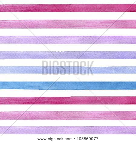 Colorful hand drawn real watercolor seamless pattern with blue pink and purple horizontal strips.