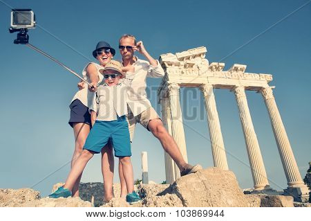 Family Take A Selfie Video On The Antique Colonnade View.Temple of Apollo,Side,Turkey