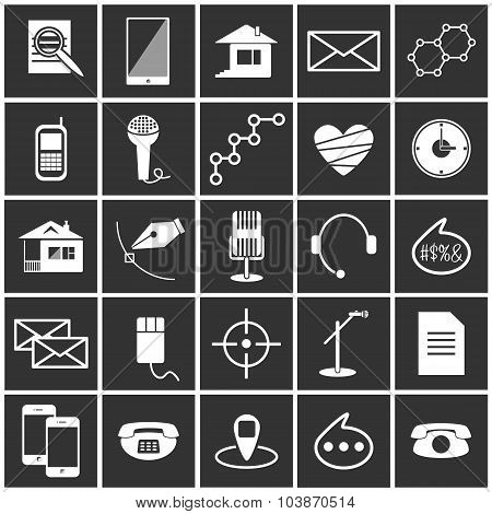 White vector icons