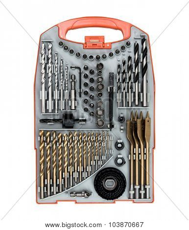 Set of drill bit and screwdriver in the box set