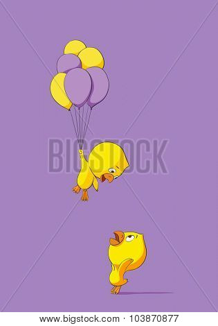 Two cute chicks with balloons