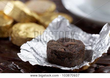 Bricks of Pu-erh tea closeup