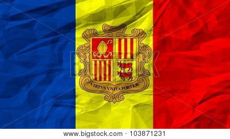 Flag of Andorra painted on paper texture.