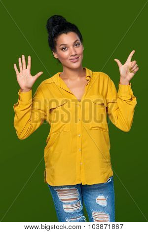 Woman showing seven fingers