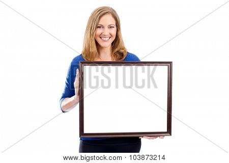Woman holding empty white framed sisn - room for copy