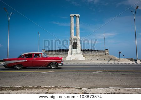 Classic American Car On Street Of Havana In Cuba