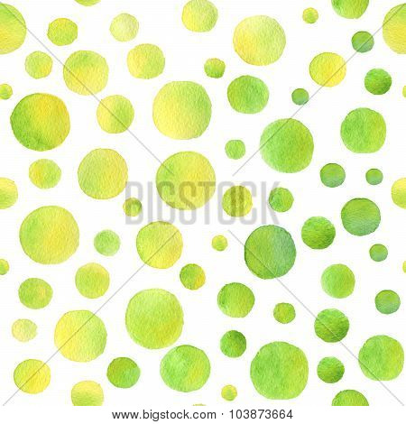 Colorful hand drawn real watercolor seamless pattern with yellow green spots.