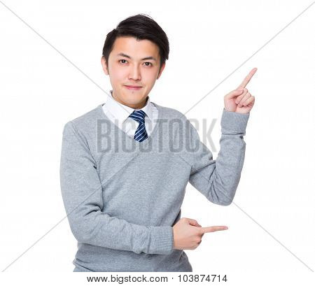 Asian businessman with finger point up