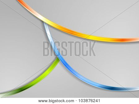 Bright glossy waves abstract background. Vector design