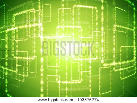 Bright green abstract background with shiny squares. Vector design