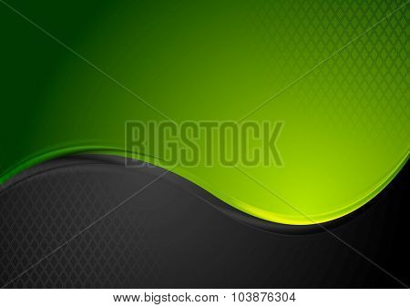 Green and black contrast wavy background. Vector design