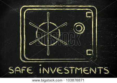 Illustration Of A Safe With Text Safe Investments