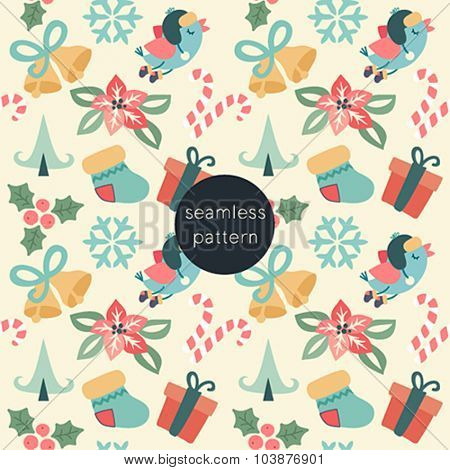 Christmas seamless pattern. Vector illustration.