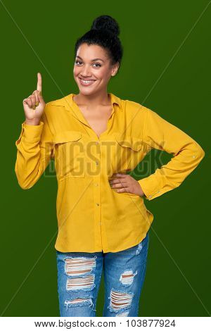 Woman showing one finger