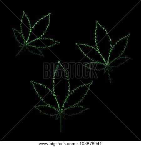 Neon Marijuana Leaves