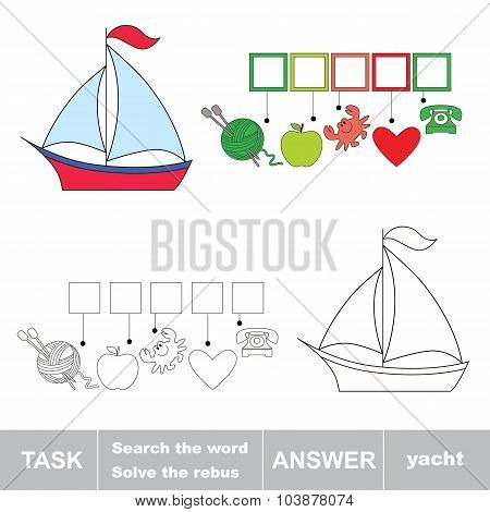 Vector game. Find hidden word yacht. Search the word.