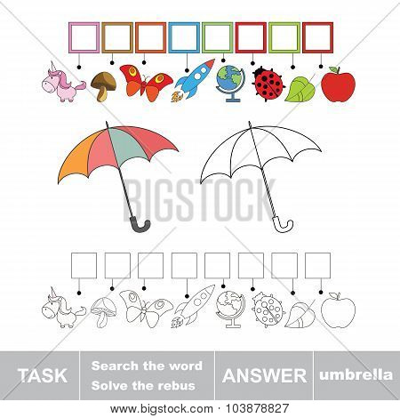 Vector game. Find hidden word umbrella. Search the word.