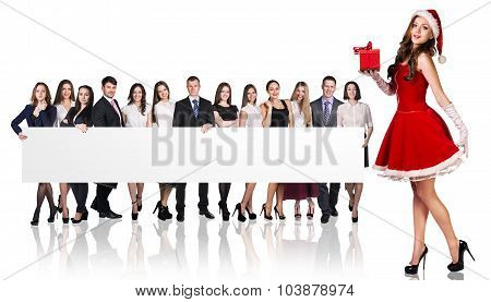 Santa girl and large group of business people