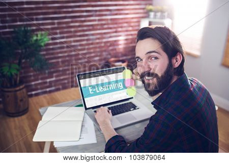 E-learning interface against portrait of smiling editor using laptop