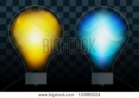 Bulb lamp transparent isolated. Glowing glass lamp with shine color. Lamp vector, lamp silhouette, lamp isolated, lamp vector bulb, lamp icon. Creative idea, concept, brainstorm