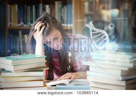 Illustration of DNA against focused student surrounded by books