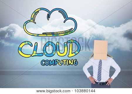 Anonymous businessman against clouds in a room