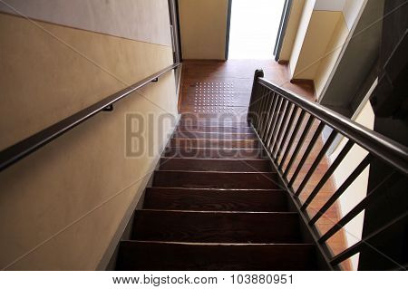 A Wooden Staircase In An Old House