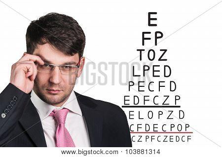Man with glasses on eyesight test