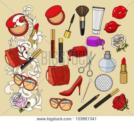 Beauty doodle, set of vector icons