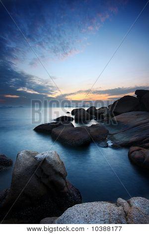 Sea Stones At Sunset