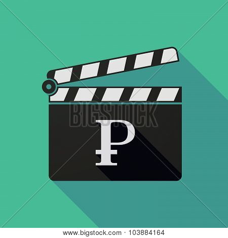 Long Shadow Clapper Board With A Ruble Sign